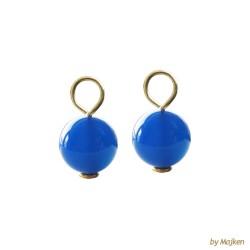 Ørevedhæng med glatte blå agat kugler 8kt